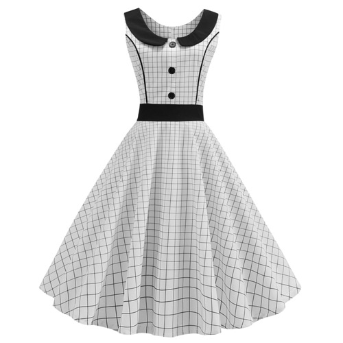 White black line rock and roll dress