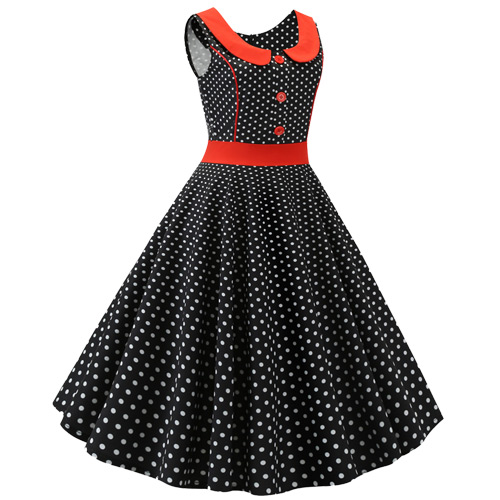 Black white polka dot rock and roll dress