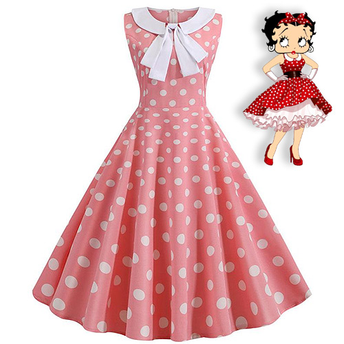 Betty Boop inspired pink white polka dot rock n roll dress S-2XL