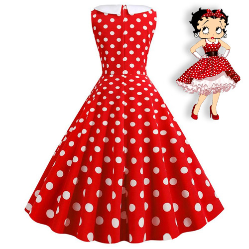 Betty Boop inspired red white polka dot rock n roll dress S-2XL
