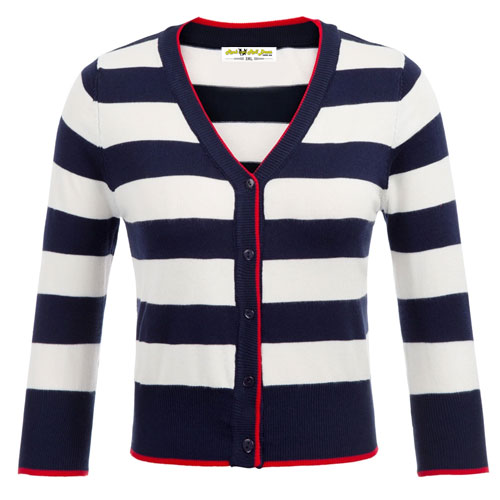 Image of Navy and white stripe cardigan