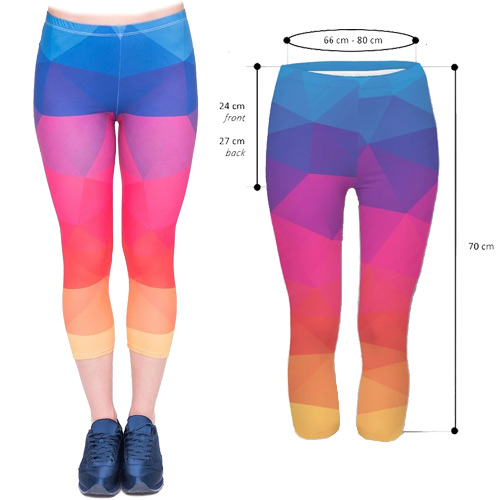 Zahora rainbow 3/4 length capri leggings size XS-L
