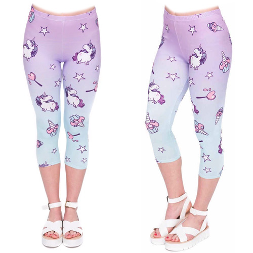 Zahora unicorn 3/4 length capri leggings size XS-L