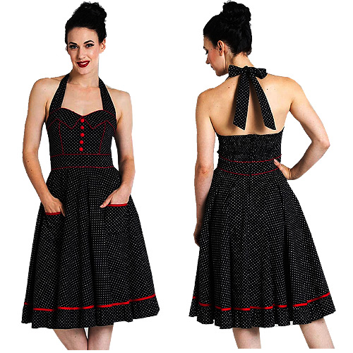 Hell Bunny sailor dress with full circle skirt XS-4XL - Black