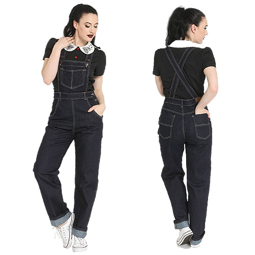 Hell Bunny Elly May navy denim dungaree XS-4XL