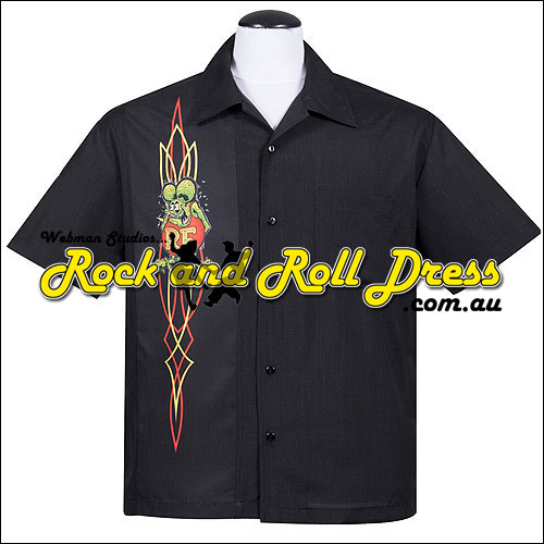 Rat Fink pinstripe rock and roll shirt
