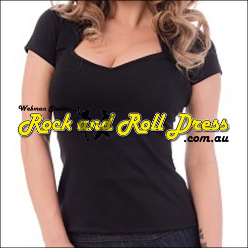 Black rock and roll sweetheart top