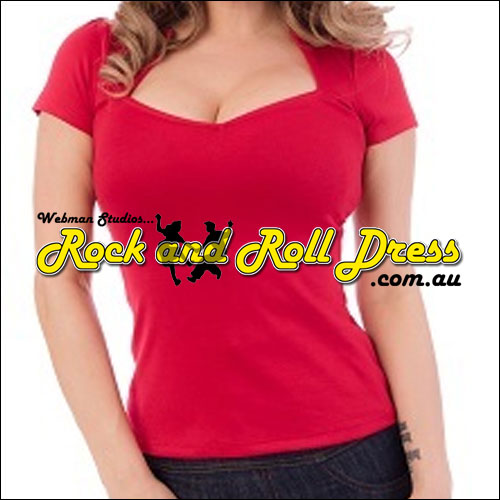 Image of Red rockabilly sweetheart top