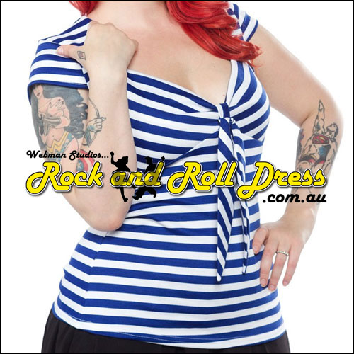 Image of Blue stripe rock n swing n rockabilly sweetheart tie top