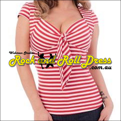 Image of Red stripe rock n swing n rockabilly sweetheart tie top