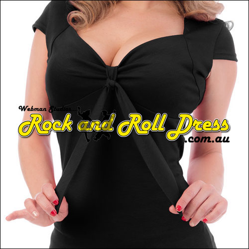 Image of Black rock and roll sweetheart tie top