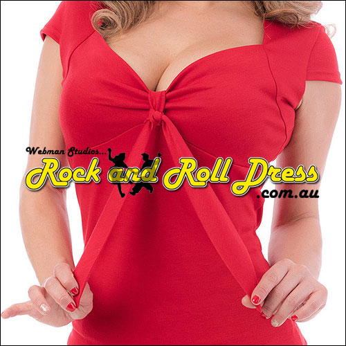 Red rock and roll sweetheart tie top