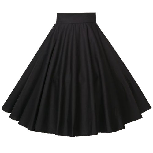 Black full circle rock and roll skirt