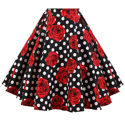 Black white polka dot red rose skirt S-3XL