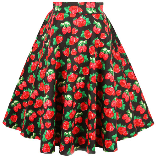 Strawberry print full ciurcle rock and roll skirt