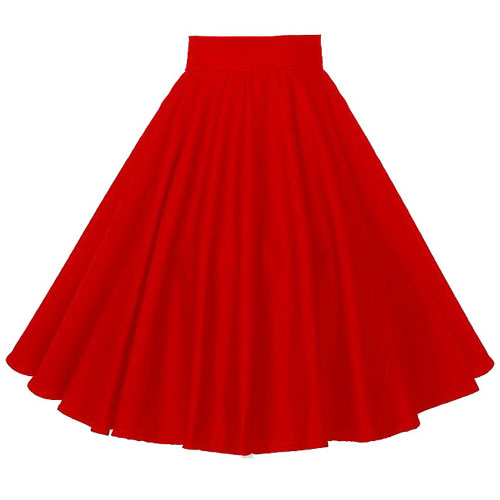 Cherry red full circle rock and roll skirt S-3XL