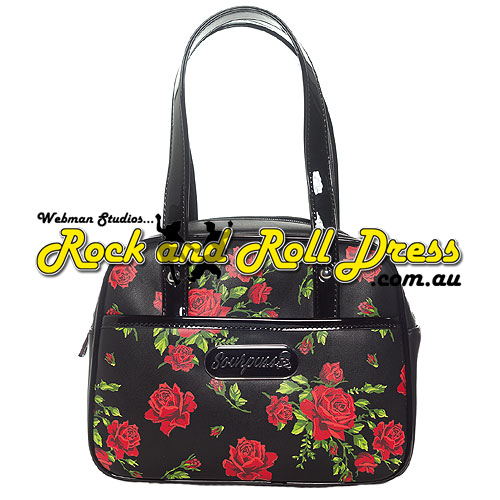 Sourpuss rose garden mini bowler purse - Click Image to Close