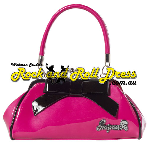 Sourpuss super floozy pink and black purse