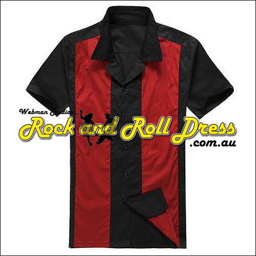 Black red panel rock and roll shirt