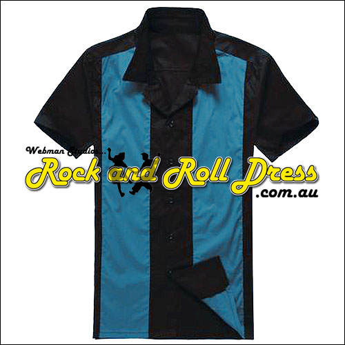 Image of Black blue panel rock and roll shirt