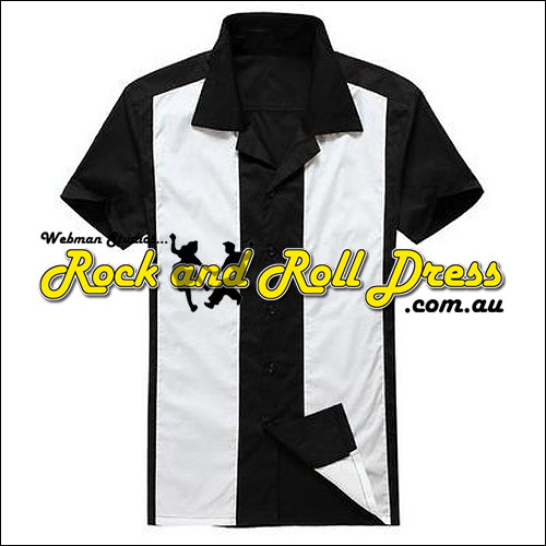 Image of Black white panel rock and roll shirt