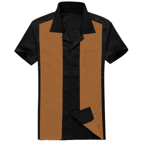 Black brown panel rock and roll shirt