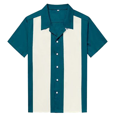 Teal ivory panel rock and roll shirt
