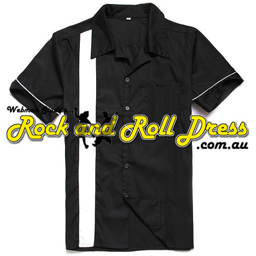 Black white stripe rock and roll shirt