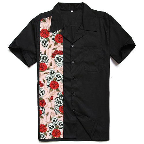 Skulls and roses rockabilly shirt