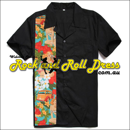 Image of Pinup panel rock and roll shirt