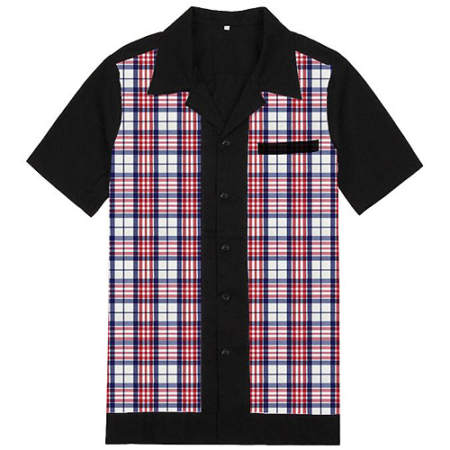 Red blue plaid rockabilly shirt