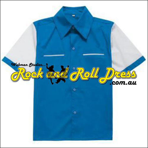 Blue panel piped pocket bowling shirt