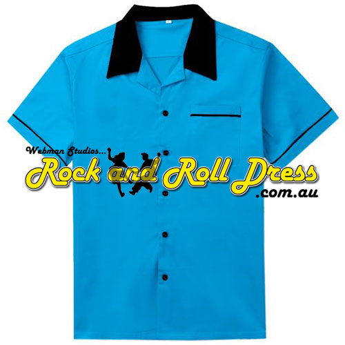 Blue and black retro rock and roll bowling shirt