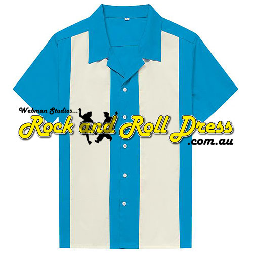 Blue and cream retro rock and roll bowling shirt