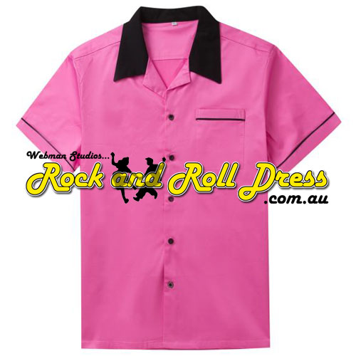 Image of Pink and black retro rock and roll shirt