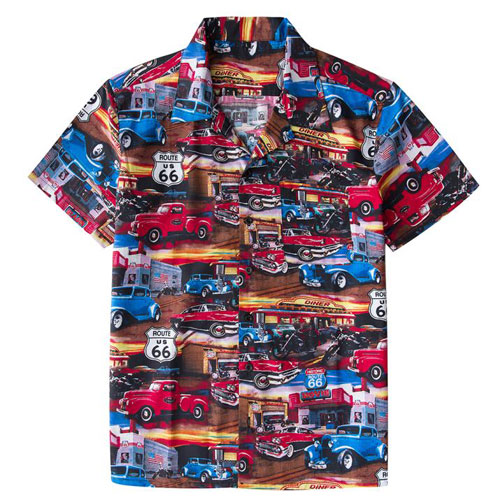 Image of Route 66 Hot Rod full colour rock and roll shirt