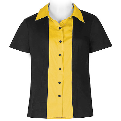 Black and yellow ladies rock and roll shirt