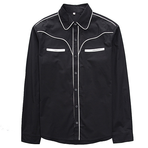 Black with white piping rockabilly western shirt