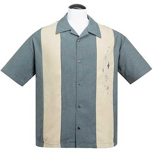 Century Marvel blue rock and roll bowling shirt