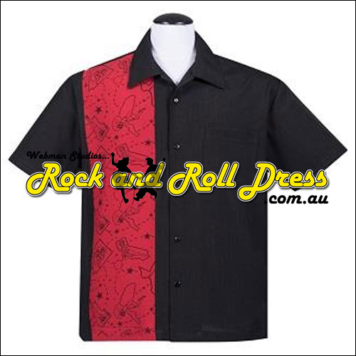 Pinup panel rock n roll bowling shirt