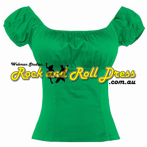 Green rock and roll peasant top