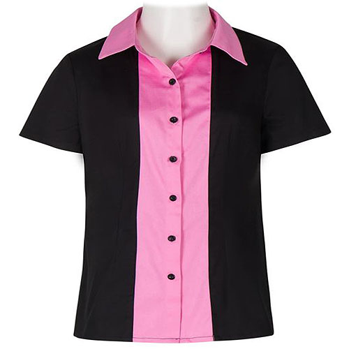 Image of Black and pink ladies bowling shirt