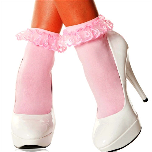 Baby pink lace top rock and roll bobby socks