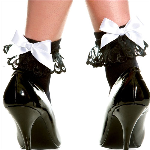 Image of Black rock and roll bobby socks with white satin bow