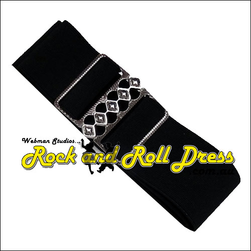 Image of 50mm wide adjustable black rock and roll cinch belt