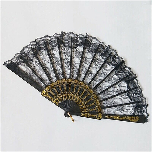 Image of Black lace rock and roll hand fan