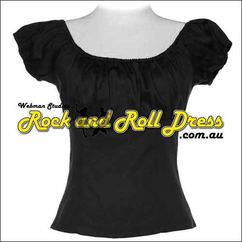 Black rock and roll peasant top