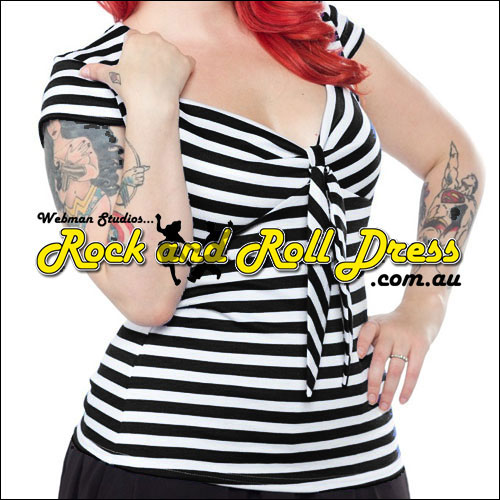 Image of Black stripe rock n swing n rockabilly sweetheart tie top