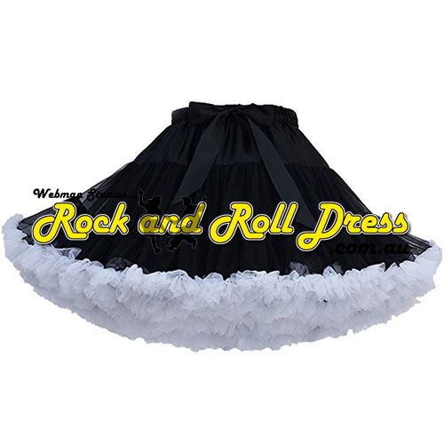 Image of 1 layer super-soft black white ruffle petticoat 65cm long