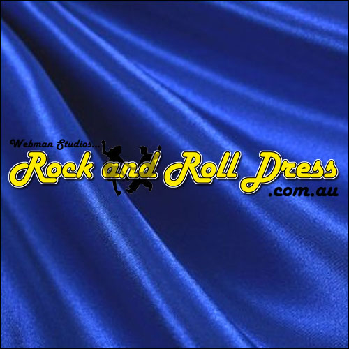Blue satin full circle rock and roll skirt